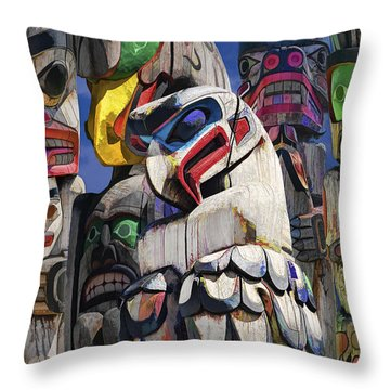 Totem Poles In The Pacific Northwest Throw Pillow
