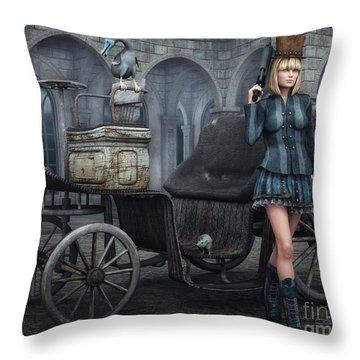 Tough Lady Throw Pillow by Jutta Maria Pusl