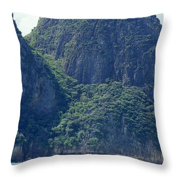 Tourist Speed Boats Anchored Throw Pillow
