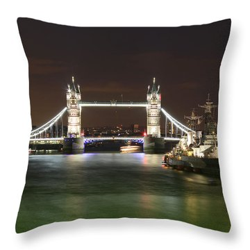 Tower Bridge And Hms Belfast At Night Throw Pillow by Jasna Buncic