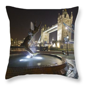 Tower Bridge Girl With A Dolphin Throw Pillow