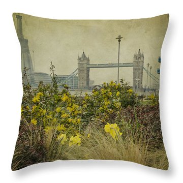 Tower Bridge In Springtime. Throw Pillow by Clare Bambers