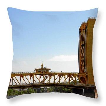 Tower Bridge Sacramento - A Golden State Icon Throw Pillow by Christine Till