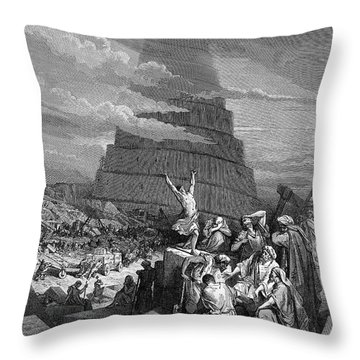 Tower Of Babel Gustave Dore Throw Pillows