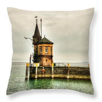 Tower On Lake Throw Pillow by Syed Aqueel