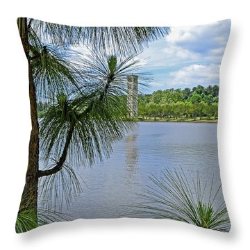 Tower Thru The Pine Throw Pillow by Larry Bishop