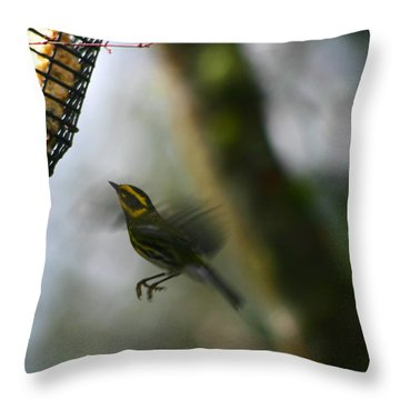 Throw Pillow featuring the photograph Townsend Warbler In Flight by Kym Backland