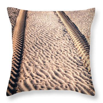 Tracks In The Sand Throw Pillow by Adrian Evans