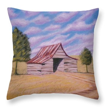 Tractor Shed Throw Pillow by Stacy C Bottoms