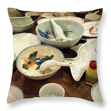 Traditional Chinese Dinner Setting Throw Pillow by Yali Shi