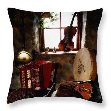 Traditional Musical Instruments, In Old Throw Pillow by The Irish Image Collection