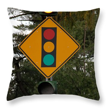 Traffic Sign Throw Pillow by Photo Researchers