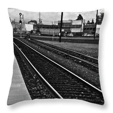 Throw Pillow featuring the photograph train tracks - Black and White by Bill Owen