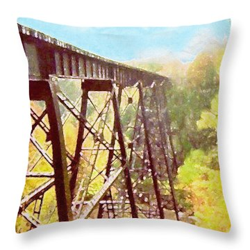 Throw Pillow featuring the digital art Train Trestle by Phil Perkins