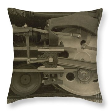 Train Wheels Throw Pillow by Photo Researchers