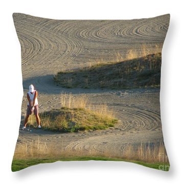 Throw Pillow featuring the photograph Trap - Chambers Bay Golf Course by Chris Anderson