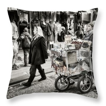 Traveling Vendor Throw Pillow by Joan Carroll