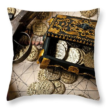 Treasure Box With Old Pistol Throw Pillow by Garry Gay