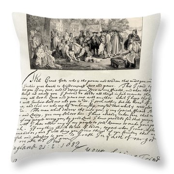 Treaty Between William Penn Throw Pillow by Photo Researchers