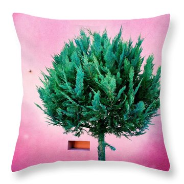 Tree And Colorful Pink Wall Throw Pillow by Matthias Hauser