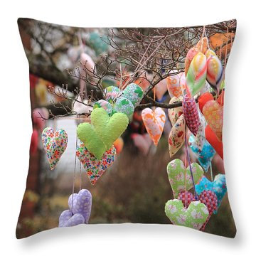Tree Hearts Throw Pillow