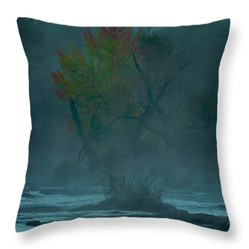 Tree In Fog Throw Pillow
