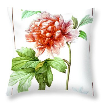 Tree Peony Throw Pillow by Granger