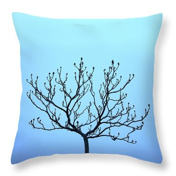 Tree With The Blues Throw Pillow