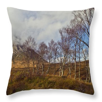 Trees Below Stob Dearg Throw Pillow by Gary Eason