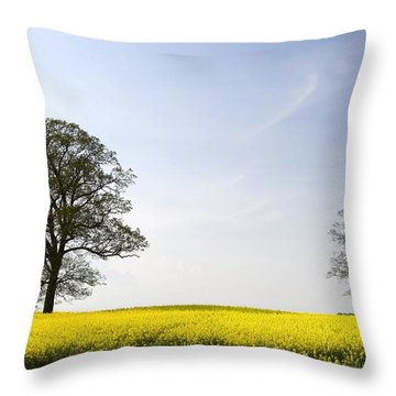 Trees In A Rapeseed Field, Yorkshire Throw Pillow by John Short