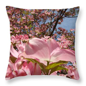 Trees Nature Fine Art Prints Pink Dogwood Flowers Throw Pillow by Baslee Troutman