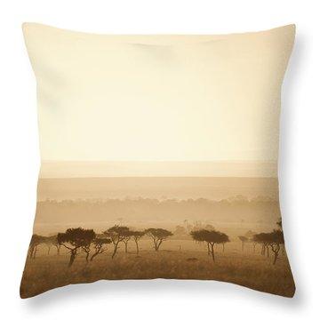 Trees On The Savannah At Sunset Masai Throw Pillow by David DuChemin