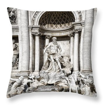 Trevi Fountain Detail Throw Pillow by Joan Carroll