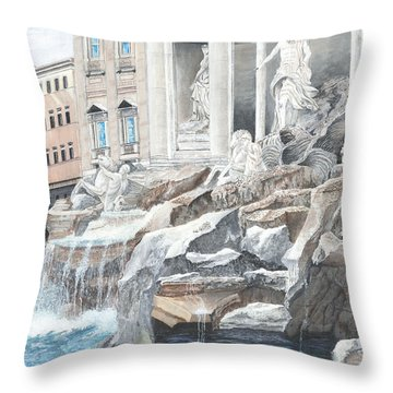 Throw Pillow featuring the painting Trevi Fountain Rome by Stuart B Yaeger