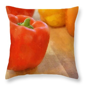 Tri Colored Peppers Throw Pillow by Michelle Calkins