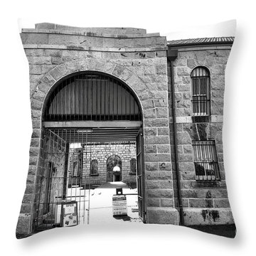 Trial Bay Jail Throw Pillow by Kaye Menner
