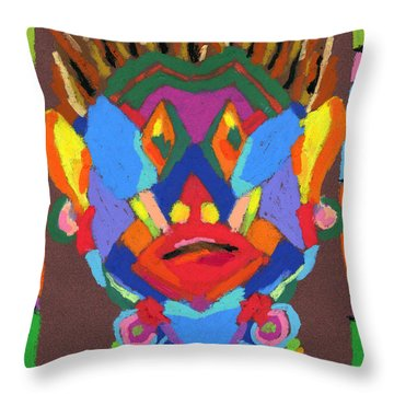 Tribal Mask Throw Pillow by Stephen Anderson