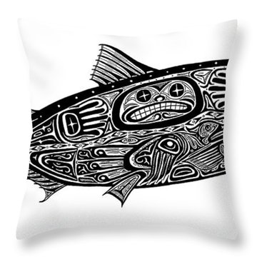 Tribal Salmon Throw Pillow by Carol Lynne