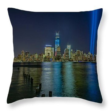 Tribute In Lights Throw Pillow by Susan Candelario