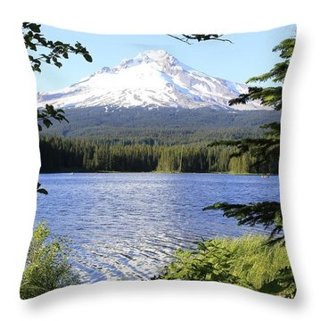 Throw Pillow featuring the photograph Trillium Lake At Mt. Hood by Athena Mckinzie
