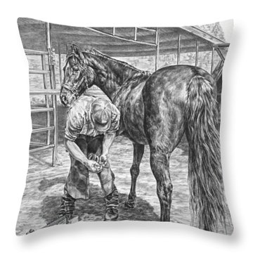 Trim And Fit - Farrier With Horse Art Print Throw Pillow by Kelli Swan