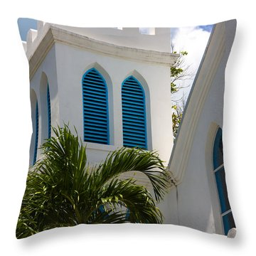 Throw Pillow featuring the photograph Trinity Presbyterian Church Tower by Ed Gleichman