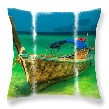 Triptych Longboat Throw Pillow by Adrian Evans