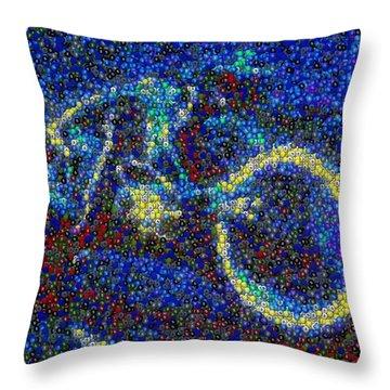 Tron Light Cycle Skittles Mosaic Throw Pillow by Paul Van Scott