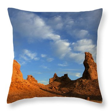 Trona Pinnacles Golden Hour Throw Pillow by Bob Christopher