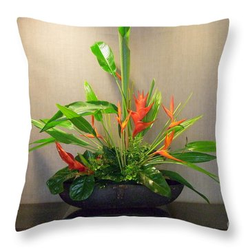 Tropical Arrangement Throw Pillow by Mary Deal