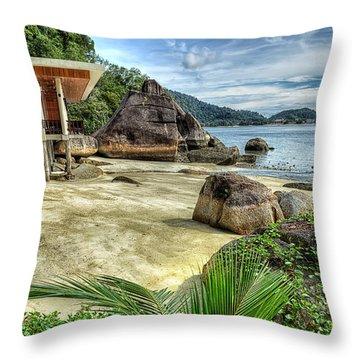 Tropical Beach Throw Pillow by Adrian Evans