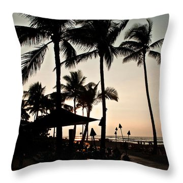 Tropical Island Silhouette Beach Sunset Throw Pillow by Valerie Garner