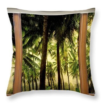 Tropical Jungle Paradise Window Scenic View Throw Pillow by James BO  Insogna