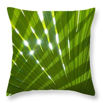Tropical Palm Leaf Throw Pillow by Amanda Elwell